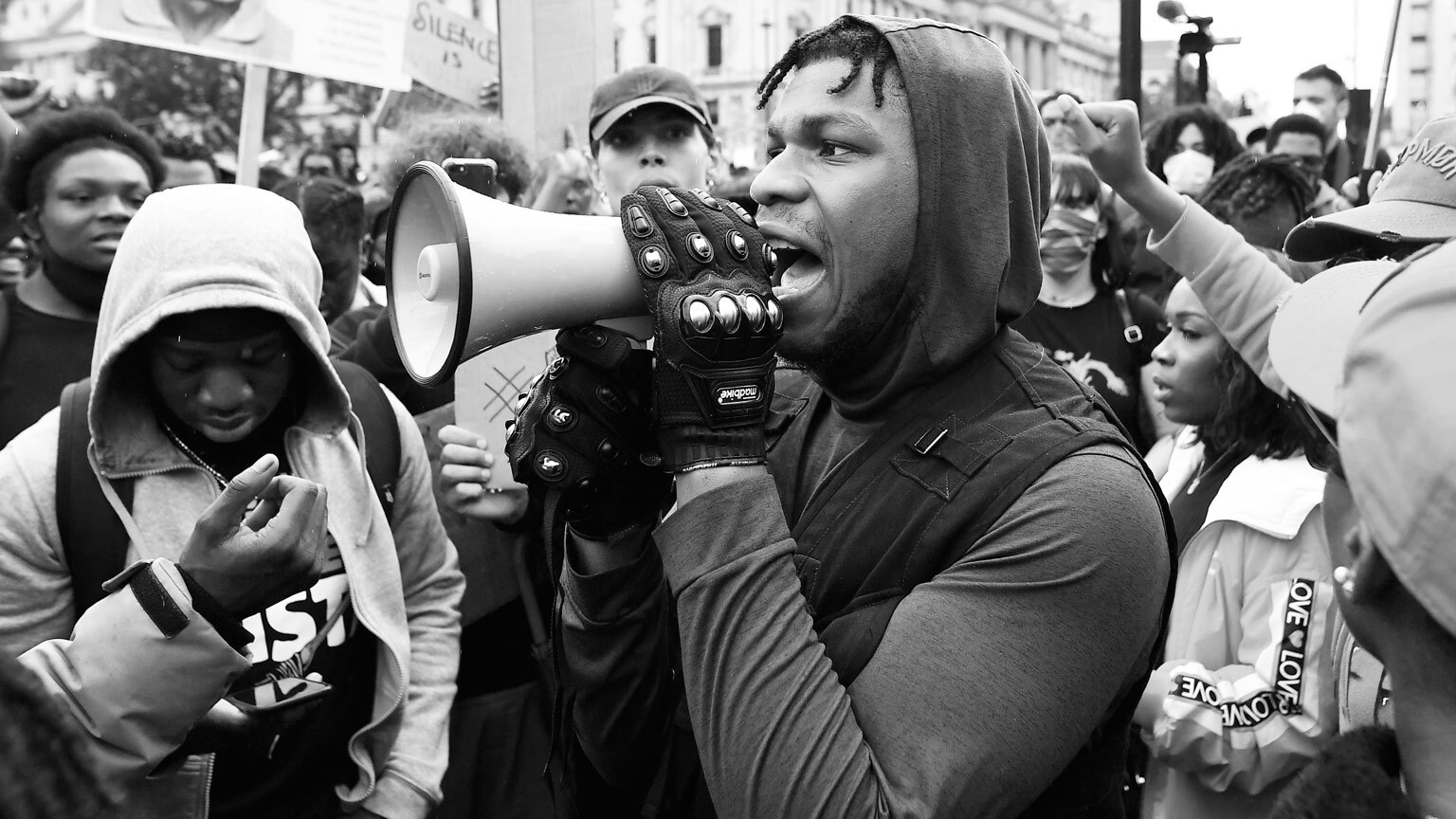 John Boyega speaks in Hyde Park during an anti-racism protest.