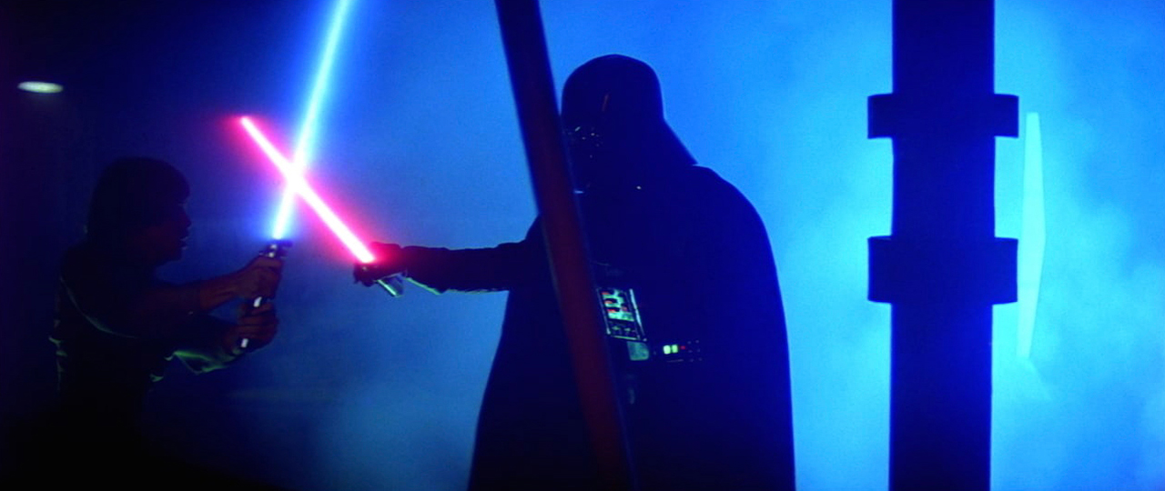 Darth Vader and Luke dueling in The empire Strikes Back
