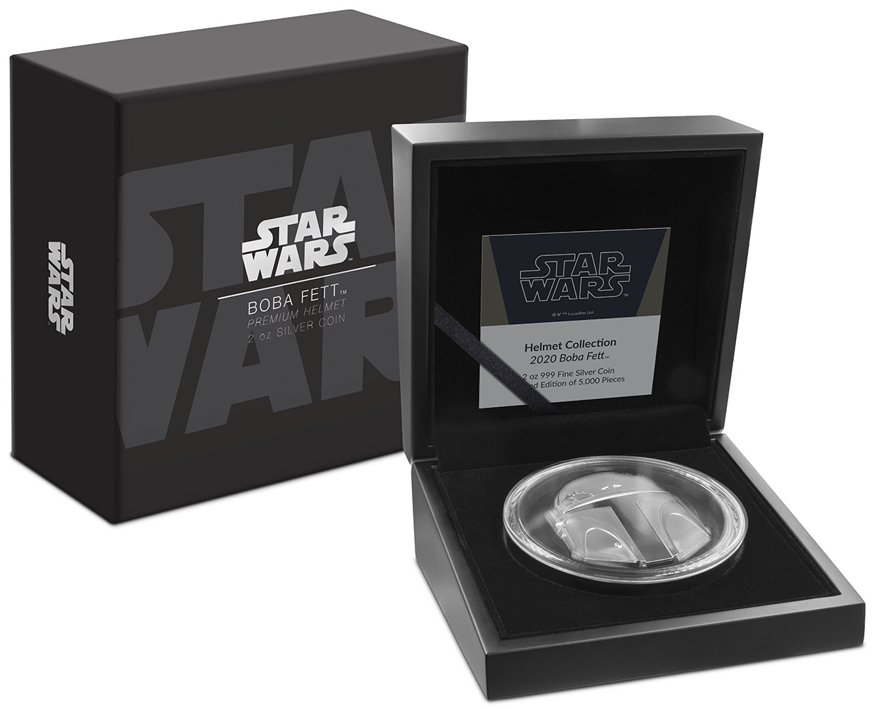 New Zealand Mint Boba Fett Helmet Ultra High Relief 2oz Silver Coin