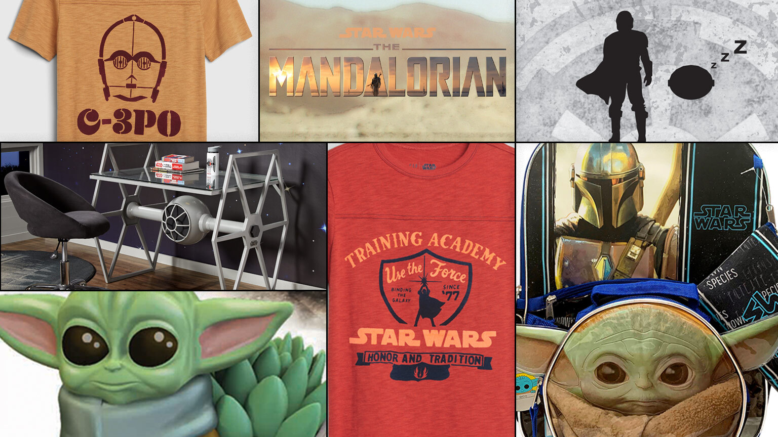 Collage of Star Wars back-to-school items including T-shirts, The Mandalorian stationary, and more.