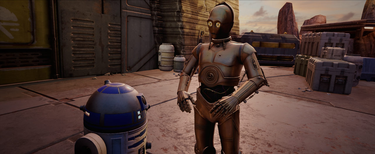 R2-D2 and C-3PO in Star Wars: Tales from the Galaxy's Edge