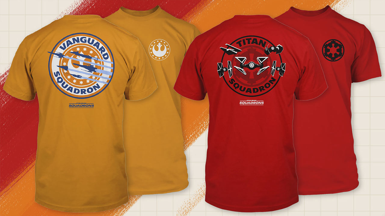 Star Wars: Squadrons Vanguard and Titan squadron tees