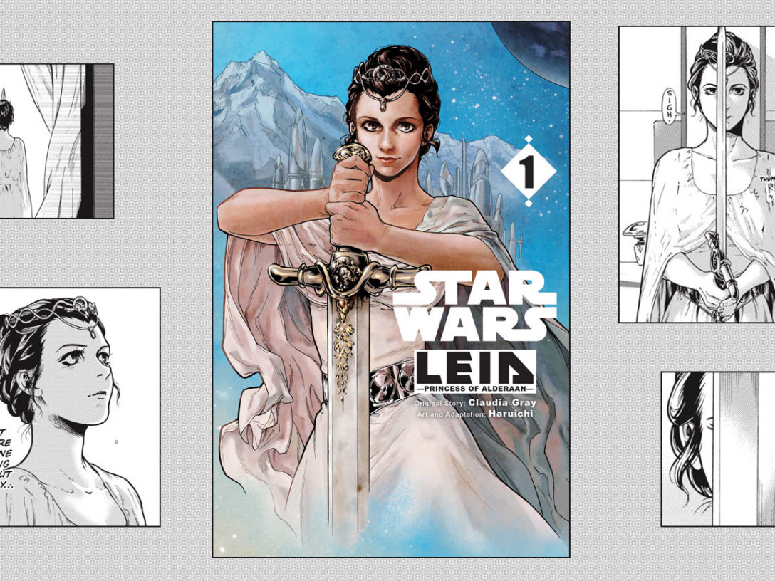 Cover and pages from the manga edition of Leia: Princess of Alderaan