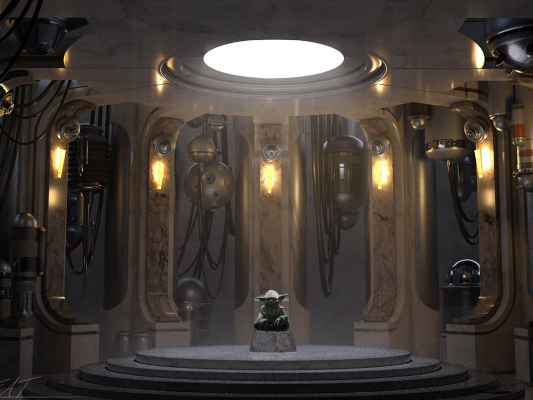 Yoda in Star Wars: Tales from the Galaxy's Edge concept art.