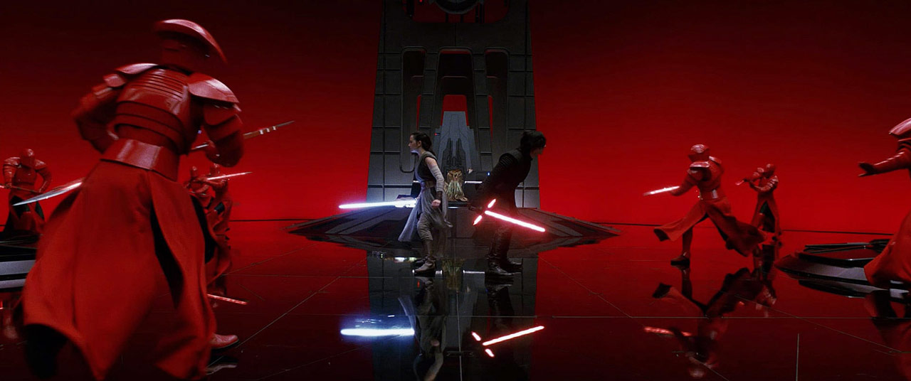 Kylo and Rey taking on the praetorian guards