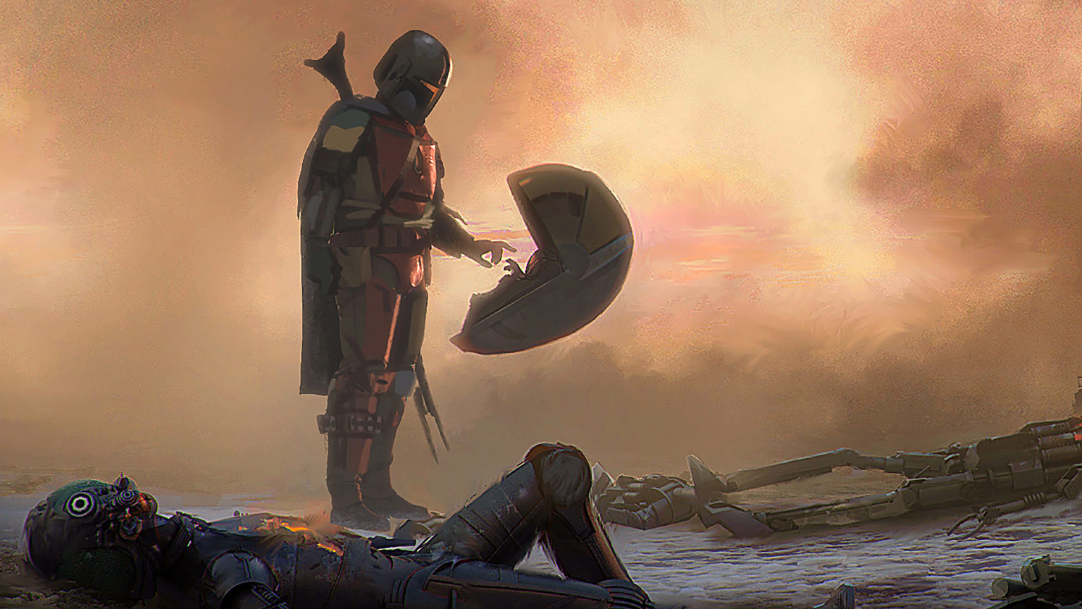 Concept art of the Mandalorian.