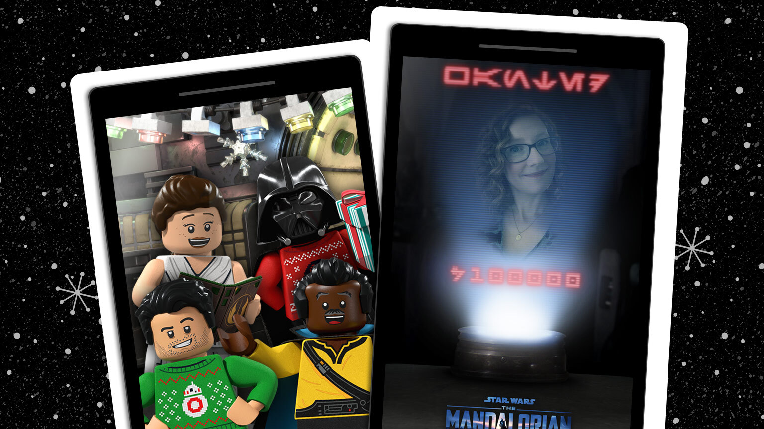 Star Wars App selfie screen and LEGO Star Wars Holiday Special characters