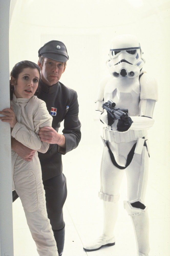 Jeremy Bulloch as an Imperial officer with Carrie Fisher's Princess Leia