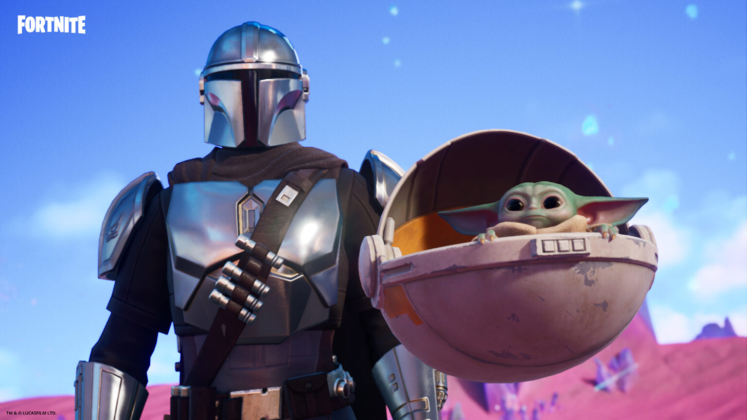 The Mandalorian and Child in Fortnite.