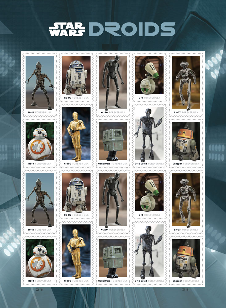 Star Wars stamps - droids