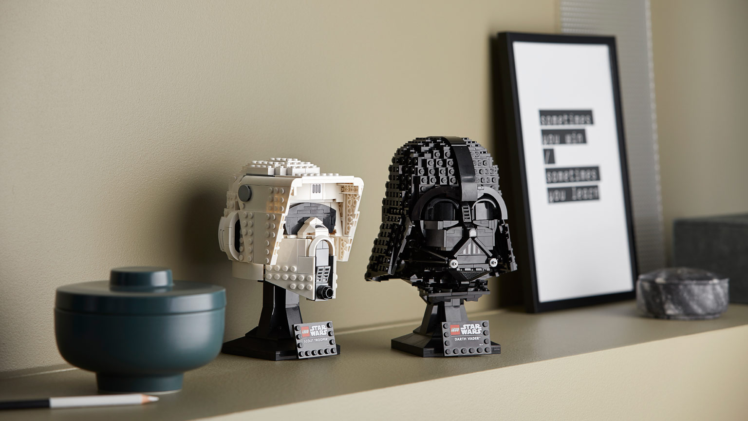 LEGO Star Wars Scout Trooper and Darth Vader helmets