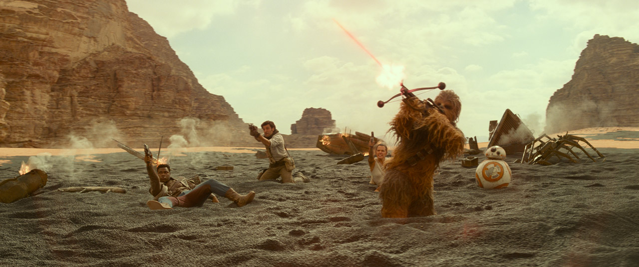 Finn, Rey, Chewie, and Poe in Star Wars: The Rise of Skywalker