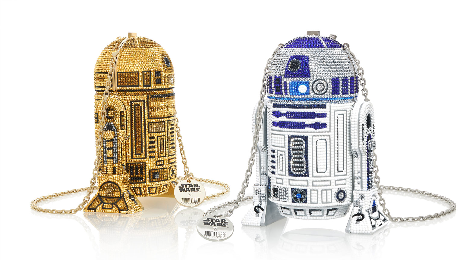 Judith Leiber's R2-D2 Classic and Gold bags close up