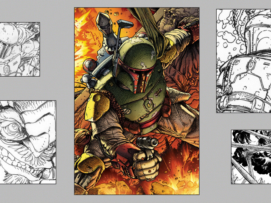 Steve McNiven's Star Wars: War of the Bounty Hunters Alpha #1 illustrations and cover