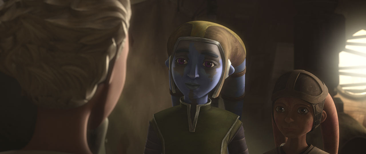 Omega and the Lawquane children from Star Wars: The Bad Batch