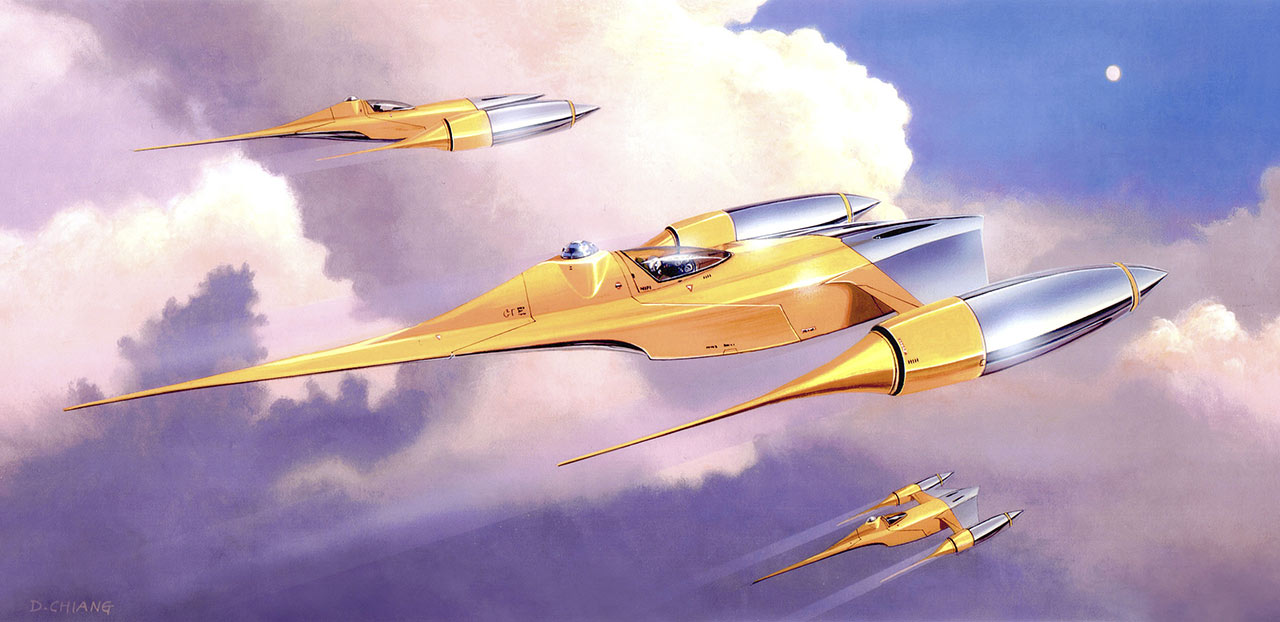 Doug Chiang's concept painting of the elegant Naboo N-1 starfighter