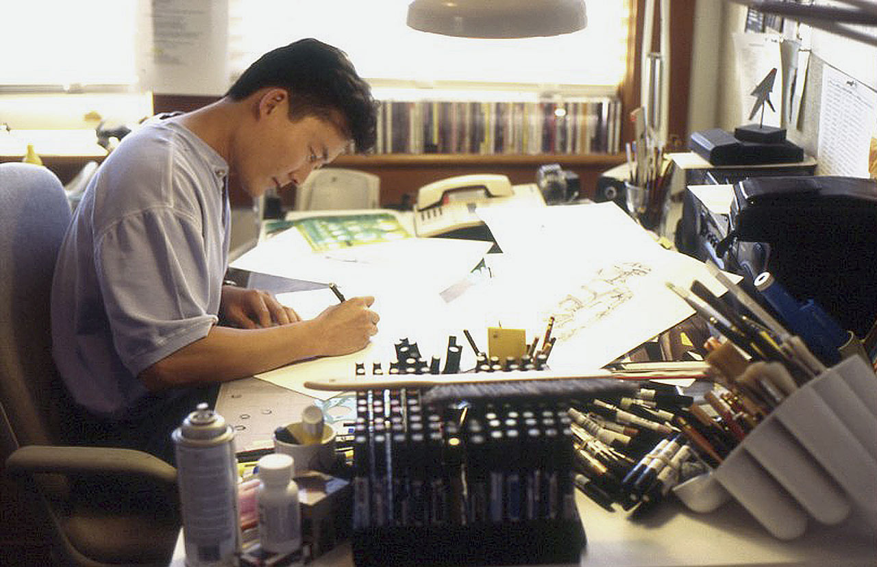 Doug Chiang working on concepts for battle droids in 1995.