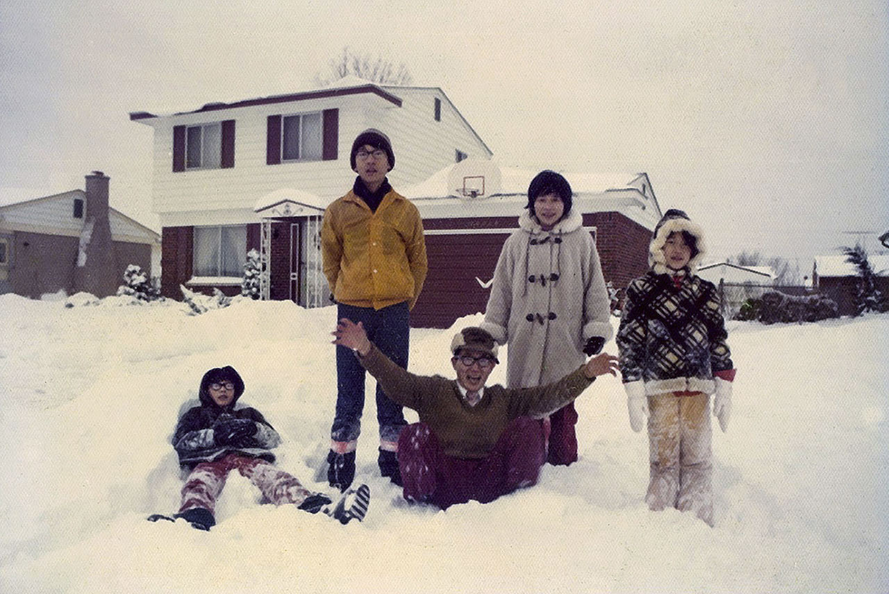 In the Michigan snow, from left to right: Doug, Sid, James, Patricia, and Lisa.