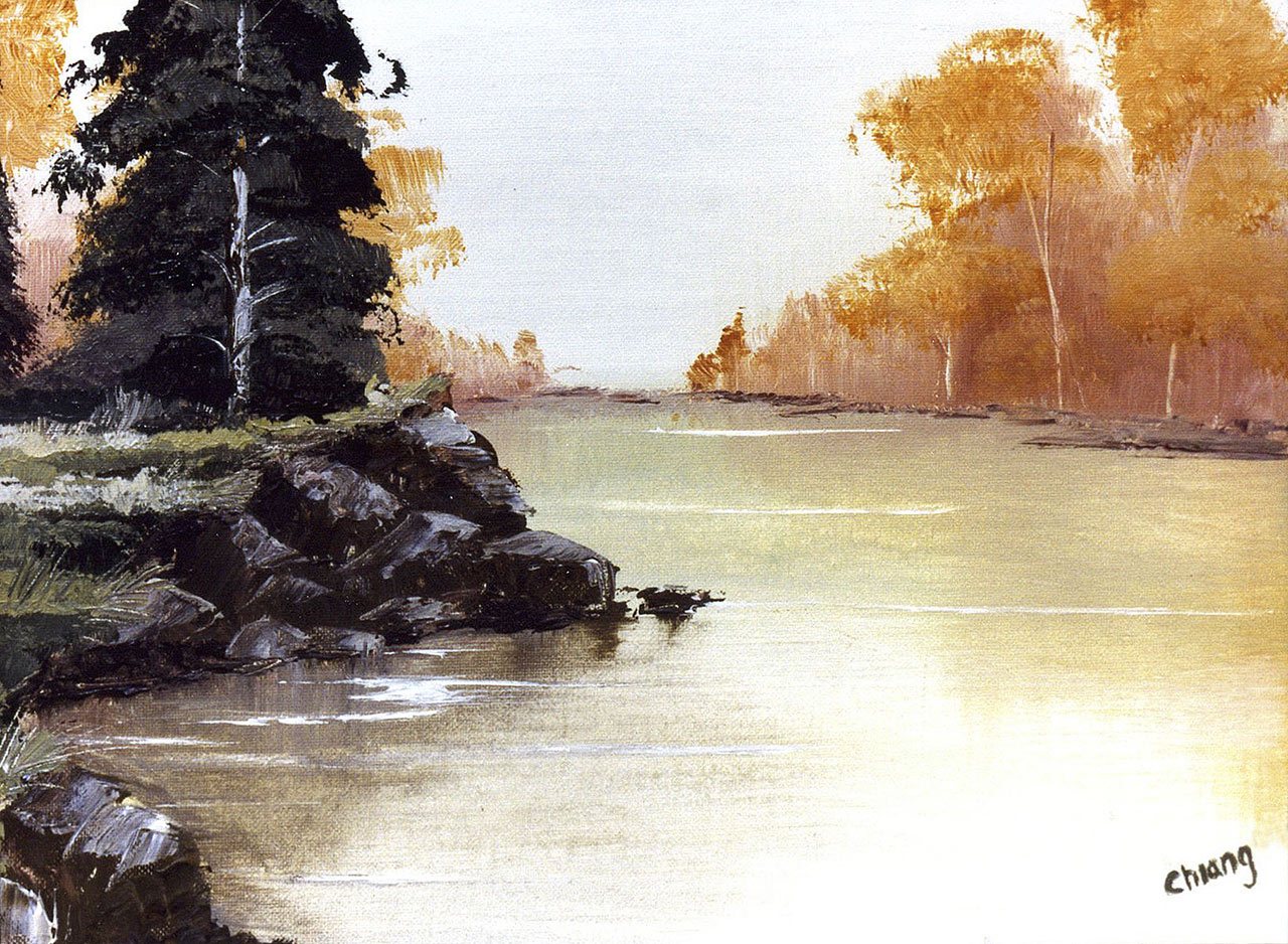 Painting of a river by a 17-year-old Doug Chiang.