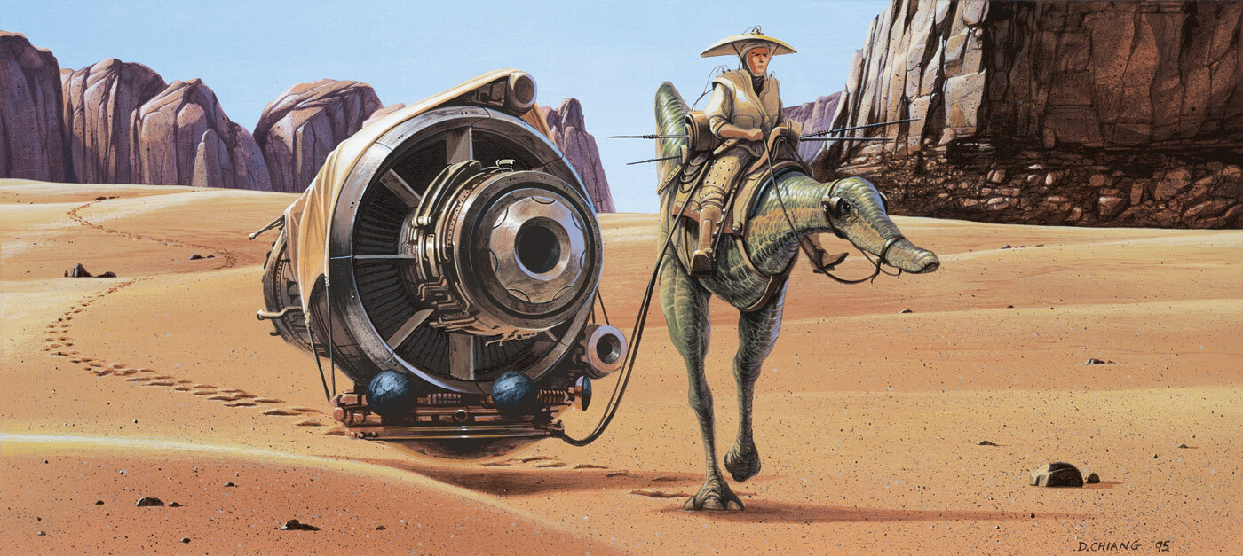 Concept art by Doug Chianginspired by Asian farmers returning from the field for 1999'sStar Wars: The Phantom Menace.