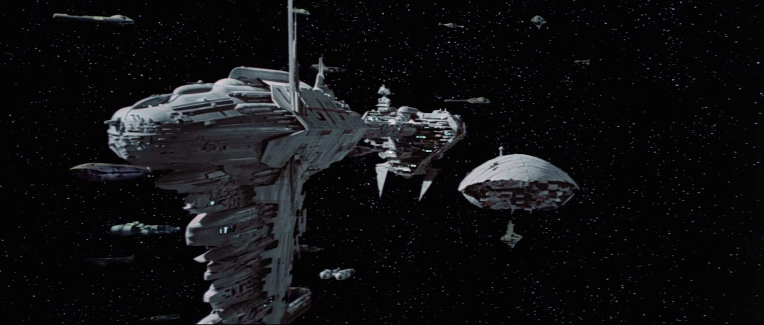 The Nebulon-B frigate as seen in Star Wars: The Empire Strikes Back.