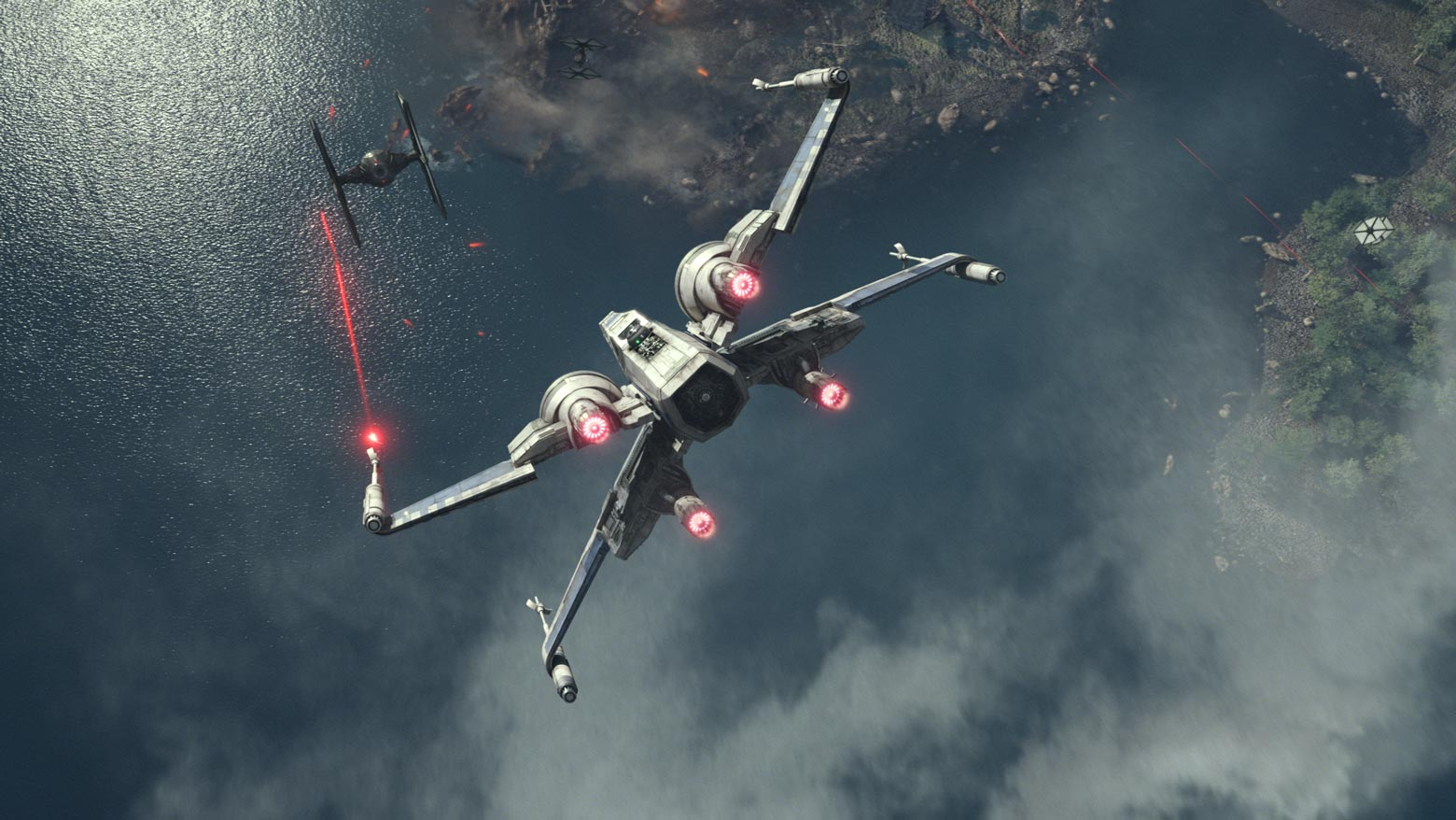 The Resistance X-wing fighter as seen in Star Wars: The Force Awakens.
