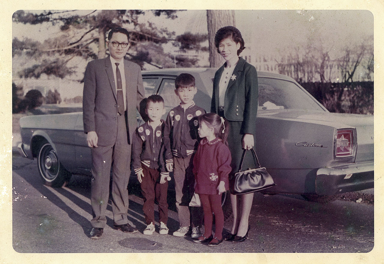 The Chiang family in 1968, newly arrived in the U.S.