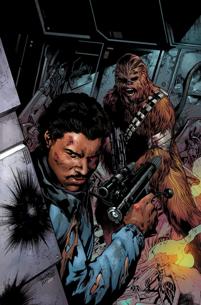 Lando Calrissian and Chewbacca on the cover of Marvel's Star Wars #14