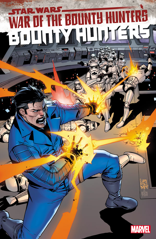 Valance in battle on the cover of Bounty Hunters #17