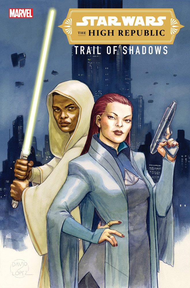 Jedi and a private eye on the cover of The High Republic - Trail of Shadows #1