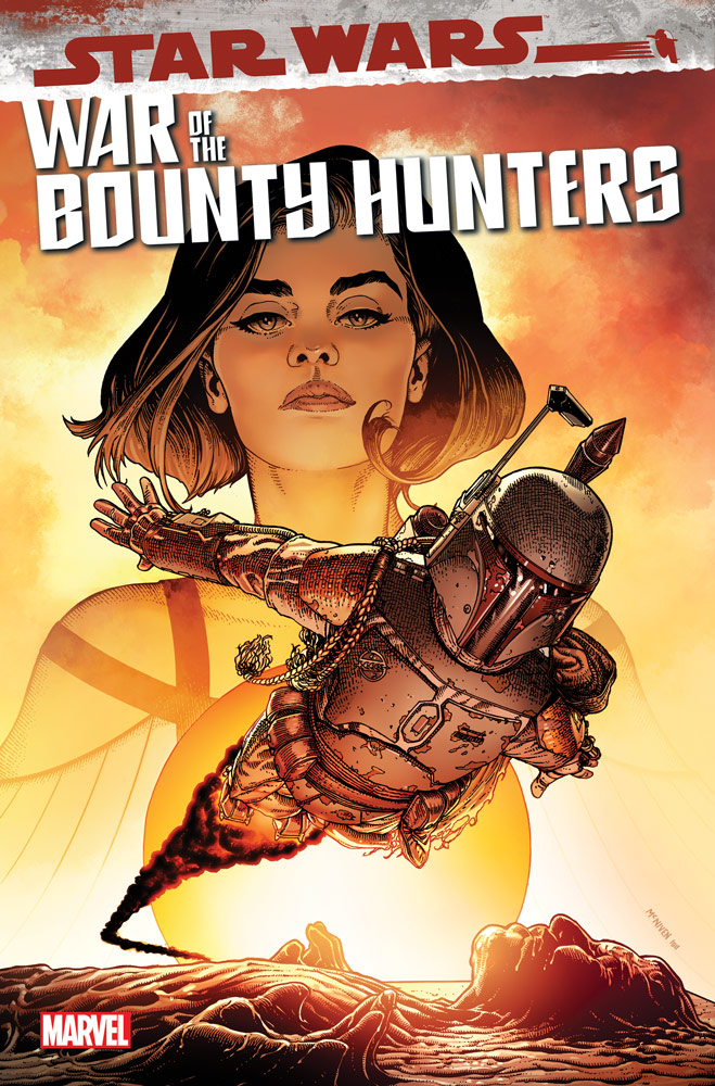 Qi'ra and Boba Fett on the cover of Star Wars: War of the Bounty Hunters #5