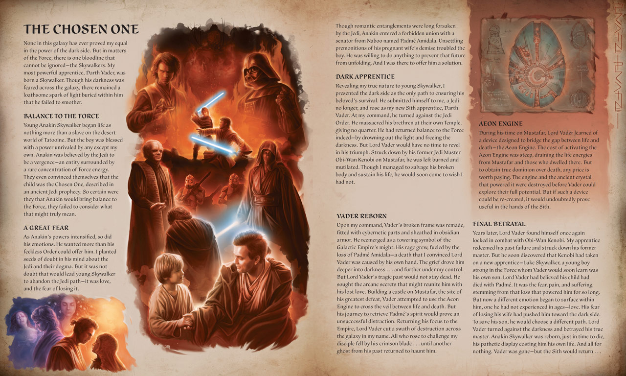 Star Wars: The Secrets of the Sith pages on Anakin Skywalker