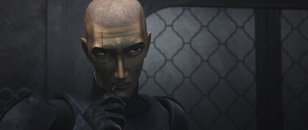 Crosshair watches silently in Star Wars: The Bad Batch..
