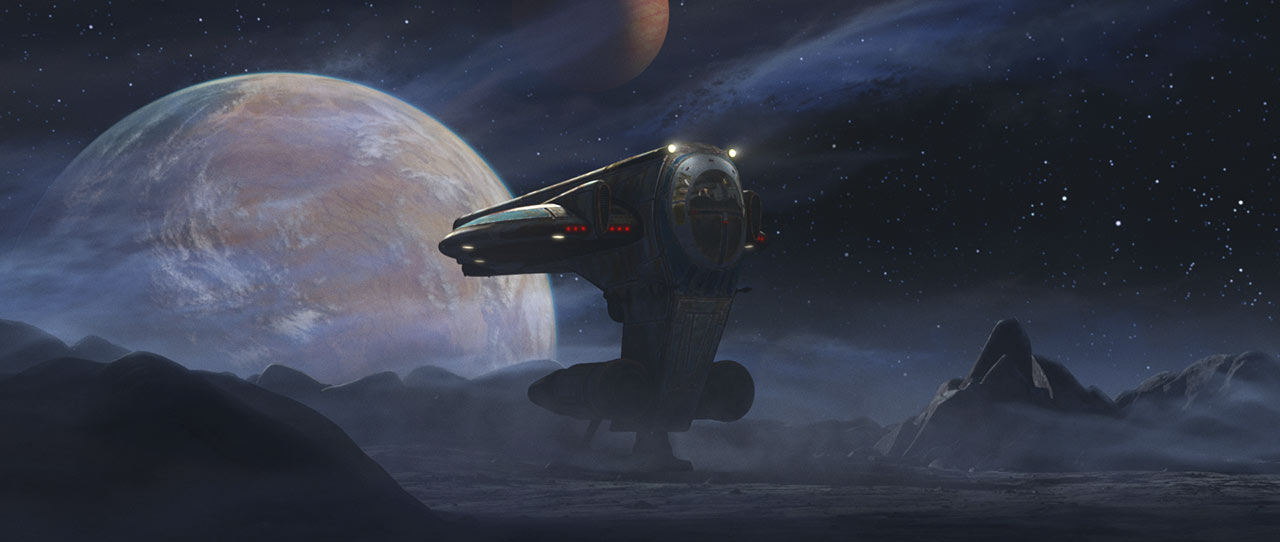 A ship in a rocky landscape in Star Wars: The Bad Batch.