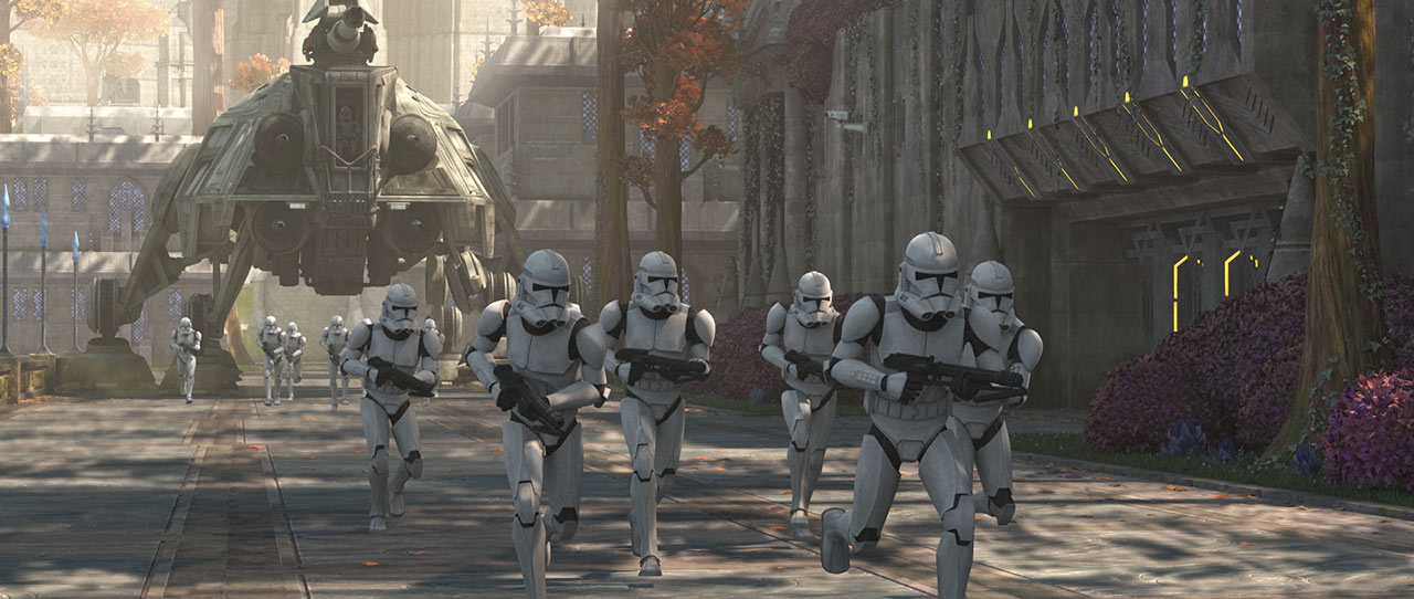 A squad of clone troopers run into battle in Star Wars: The Bad Batch.