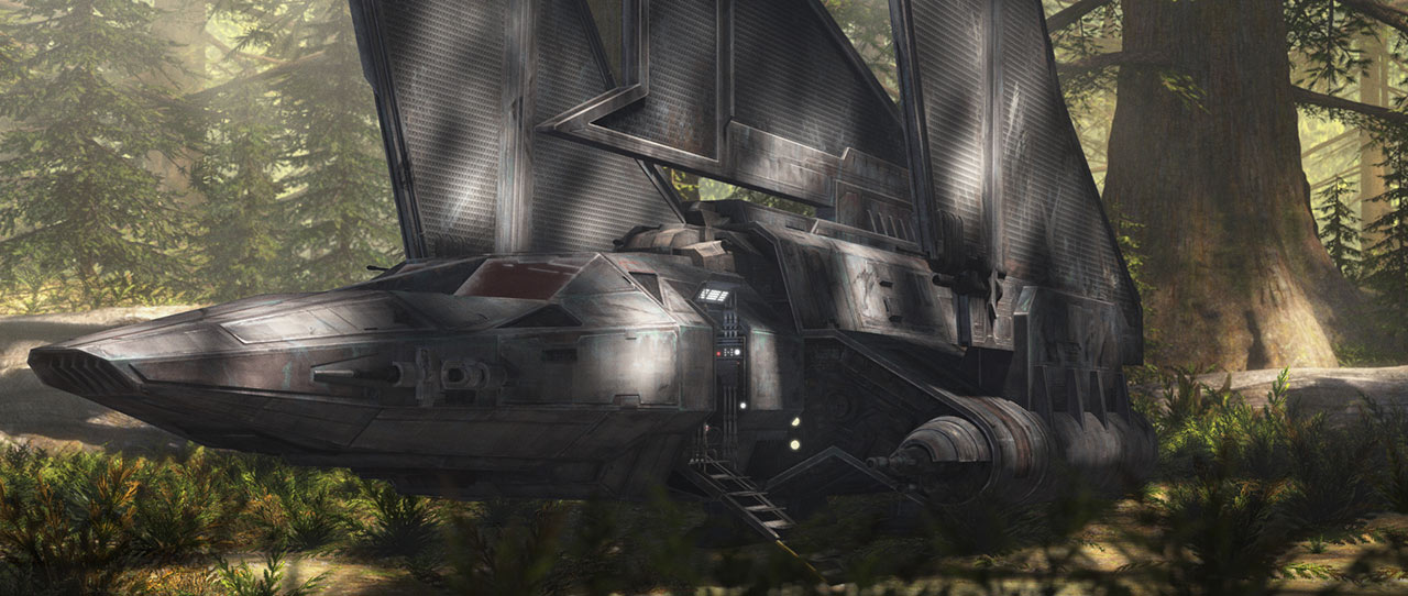 The Marauder sits in a dense forest.