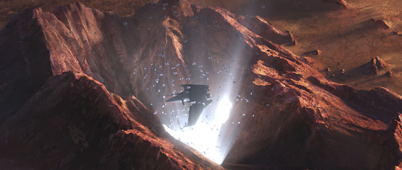 The Marauder hovers above a chasm.
