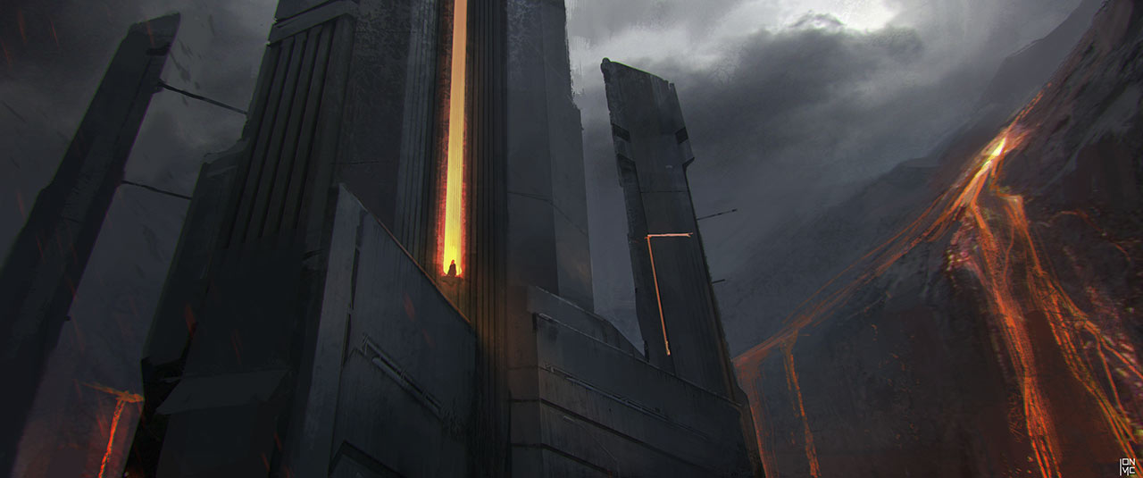 Vader's Castle entrance concept art from Rogue One