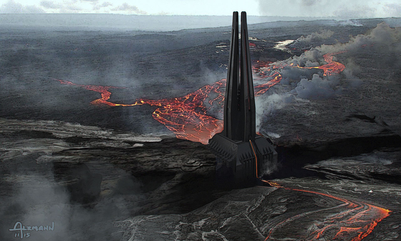 Mustafar and Vader's Castle concept art from Rogue One