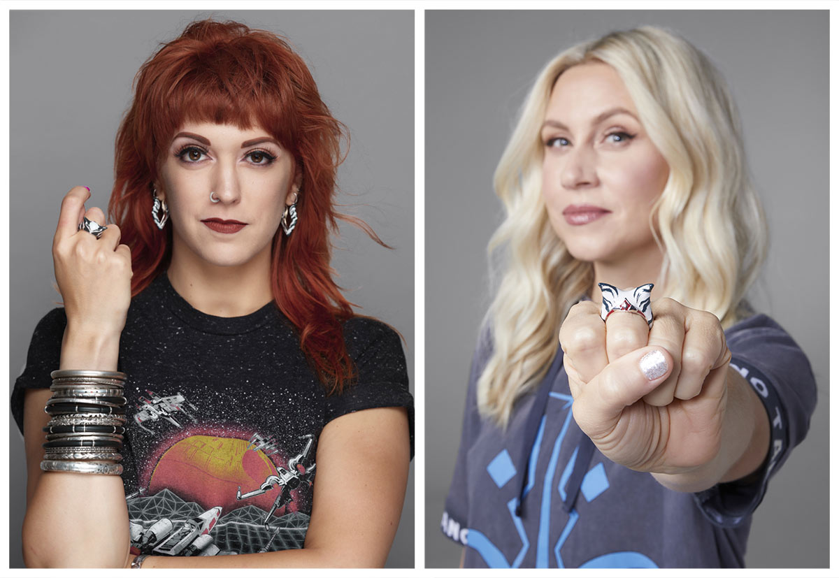 Allison Cimino and Ashley Eckstein with Star Wars X RockLove Ahsoka ring and earrings