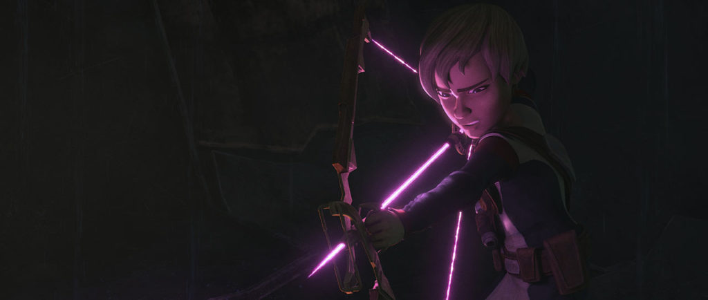 Omega wields her energy bow.
