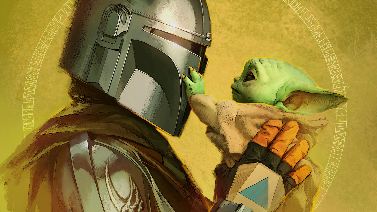 The Mandalorian and Grogu from the cover of The Art of The Mandalorian Season 2.