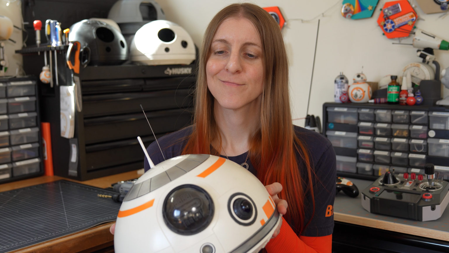 Psy DeLacy (Pixar technical director and droid builder) with BB-8