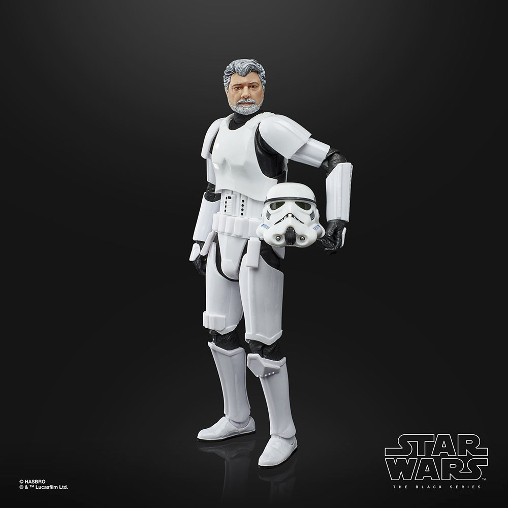 Hasbro's Star Wars: The Black Series George Lucas with helmet out of package