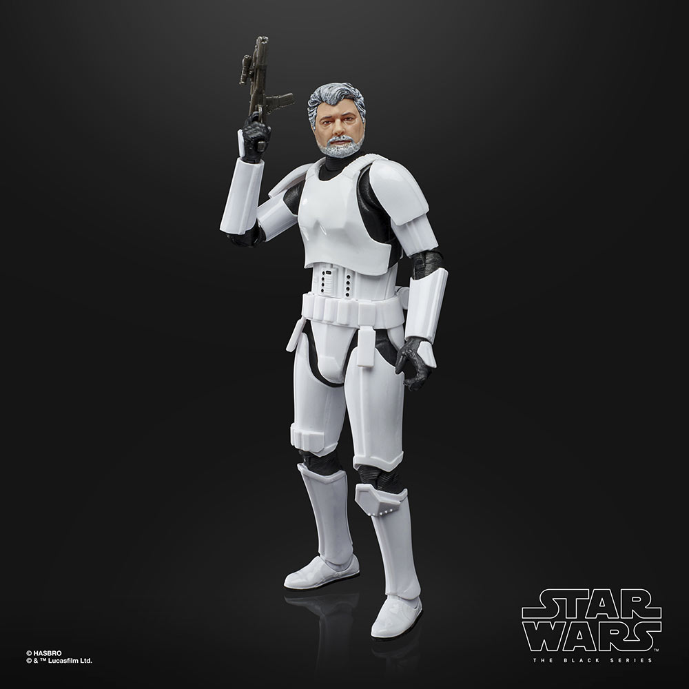 Hasbro's Star Wars: The Black Series George Lucas with blaster out of package