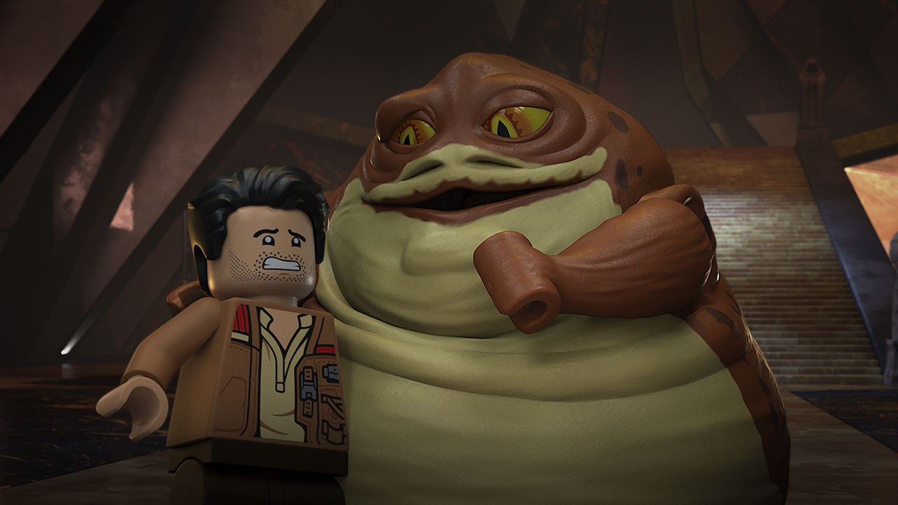 Poe and Jabba in LEGO Star Wars: Terrifying Tales