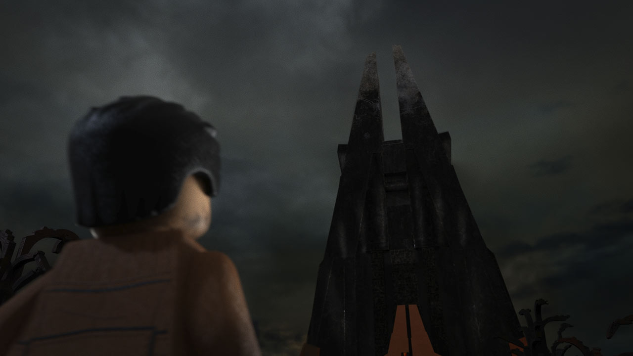 Poe looking at Vader's Castle