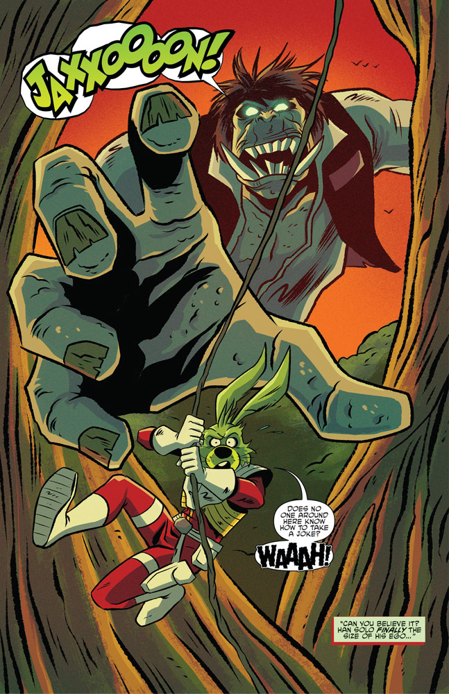 Ghosts of Vader's Castle #2, Jaxxon escaping