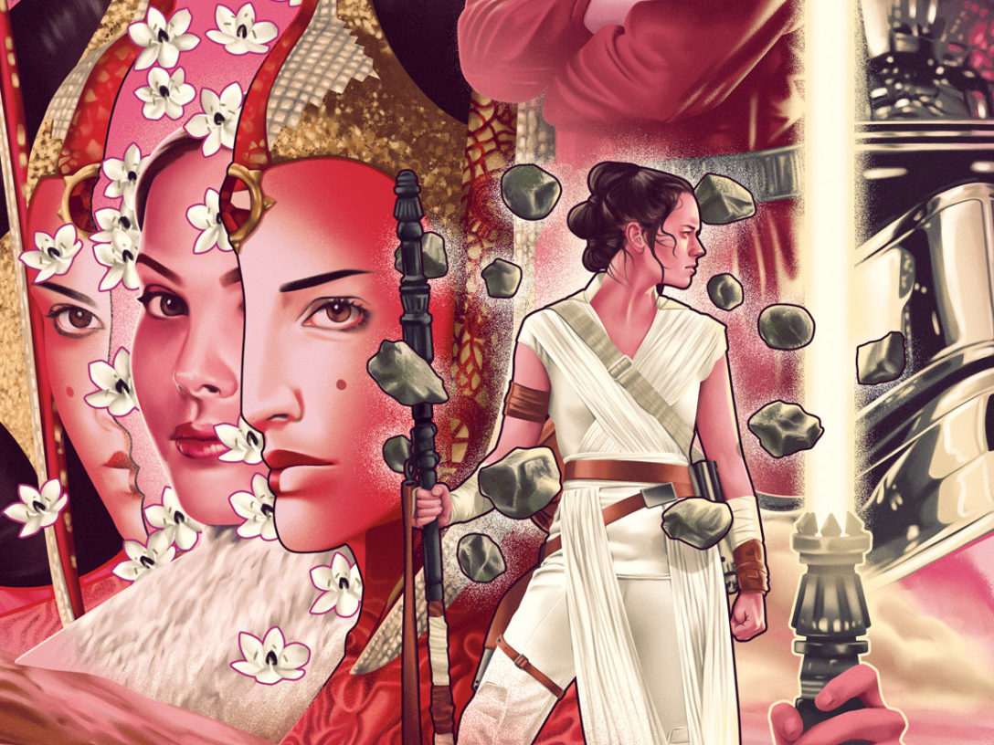 An LGBTQ+ History Month piece by Jack Hughes depicts the women of Star Wars.