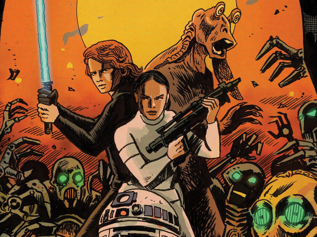 Anakin, Padme, and Jar Jar on the cover of Star Wars Adventures: Ghosts of Vader's Castle #1.